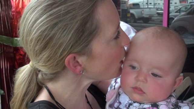 Close-up of Mommy Kissing Baby