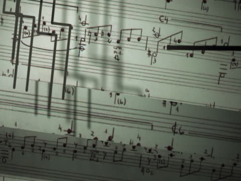 close-up of musical notes on a sheet of paper - sheet music stock videos & royalty-free footage