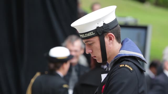 close-up of navy soldier. close-up of navy soldier. new zealand on april 25, 2013 in various cities, new zealand - anzac day stock videos & royalty-free footage