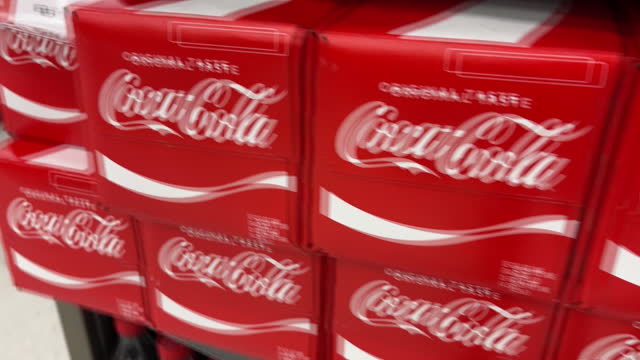 close-up of of coca-cola and sprite bottles on shelf in harmon grocery store in orem. coca cola is scheduled to announce their fourth-quarter 2020... - orem stock videos & royalty-free footage