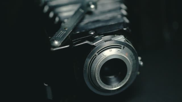 Closeup of old retro film camera.