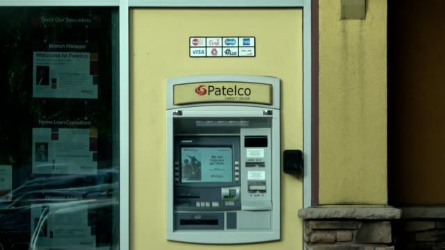 closeup of patelco credit union automated teller machine at a bank branch in dublin california may 21 2018 - credit union stock videos & royalty-free footage