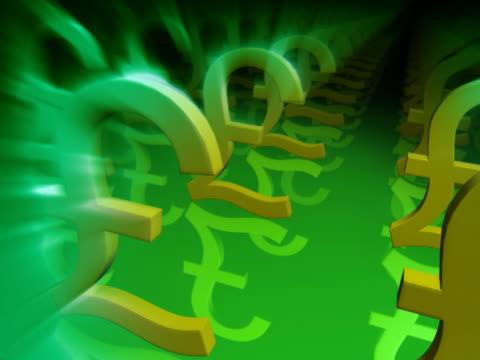 vídeos y material grabado en eventos de stock de close-up of pound symbols in a row - símbolo de la libra esterlina