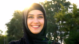 Close-up of Pretty young islamic woman