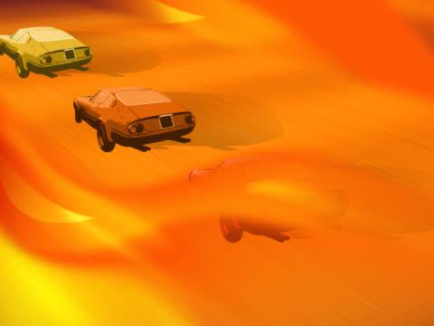 vídeos de stock, filmes e b-roll de close-up of racecars in a competition - grupo pequeno de objetos