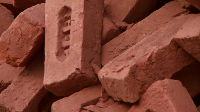 Closeup of red bricks in India