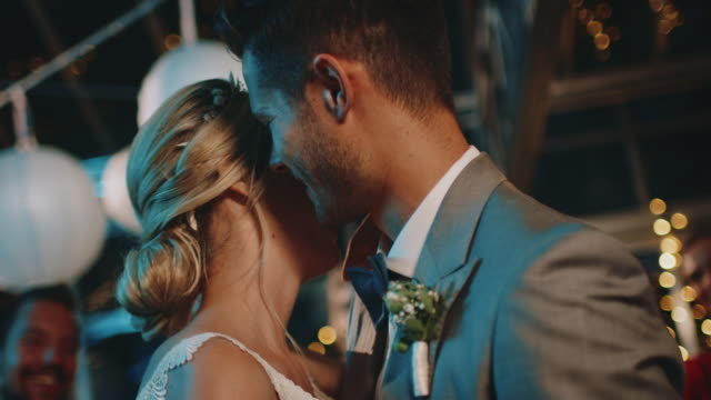 close-up of romantic newlyweds dancing in wedding - married stock videos & royalty-free footage