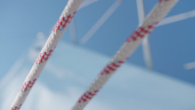 close-up of ropes while sailing a sailboat in the aegean sea of greece. - yacht stock videos & royalty-free footage