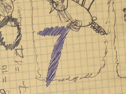 vidéos et rushes de close-up of scribbles with a countdown - chiffre 9