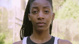 Close-up of serious female basketball player