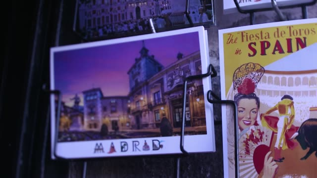 close-up of spanish post cards on display in madrid, spain - postcard stock videos & royalty-free footage