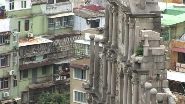 close-up of st paul's church in macau china - 聖ポール天主堂跡点の映像素材/bロール