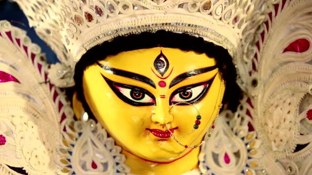 close-up of statue of goddess durga, delhi, india - kolkata stock videos & royalty-free footage