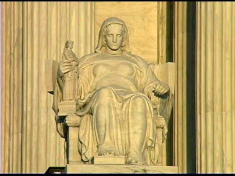 Close-up of statue on Supreme Court Building, Washington DC