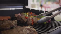 Closeup of steaks and skewers on backyard barbeque grill