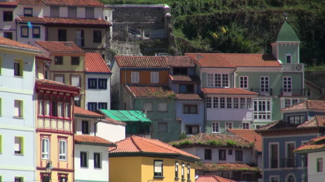 close-up of the colorful homes in cudillero spain - fensterfront stock-videos und b-roll-filmmaterial