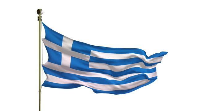 primo passo della bandiera greca in 4k - grecia stato video stock e b–roll