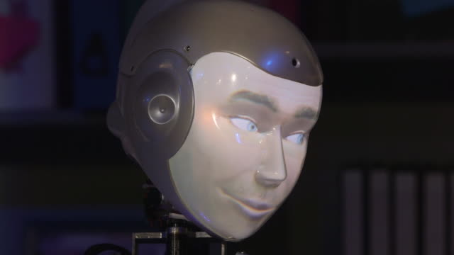 closeup of the humanoid face of a robot actor during rehearsals for the play 'spillikin' which addresses issues around companionship during dementia... - innovation stock videos & royalty-free footage