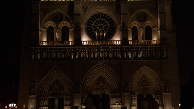a close-up of the notre dame cathedral at night - haute saone stock videos and b-roll footage