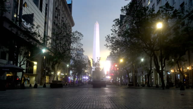 close-up of the obelisk of Buenos Aires in the evening