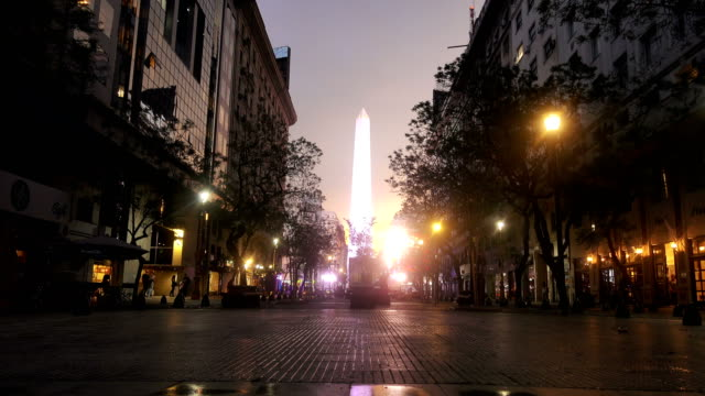 close-up of the obelisk of buenos aires in the evening - buenos aires stock videos & royalty-free footage