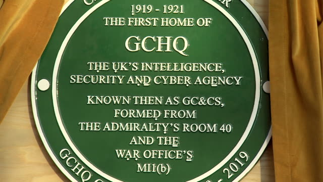 Closeup of the plaque to mark 100 years of GCHQ