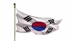 Close-Up of the South Korean Flag in 4K