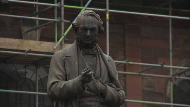 Close-up of the statue of John Cobden in St. Ann's Square in Manchester, UK.