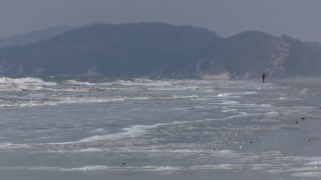 Closeup of the waters edge on a coastline in South Korea