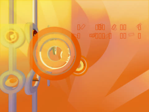 Close-up of three dimensional objects spinning against an orange background