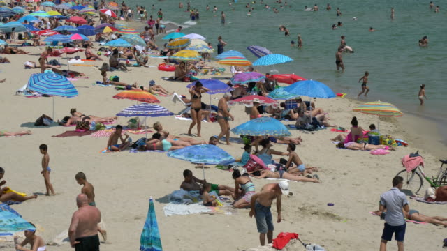 close-up of tourists and locals sunbathing on a city beach during a hot summer day - bulgaria stock videos & royalty-free footage