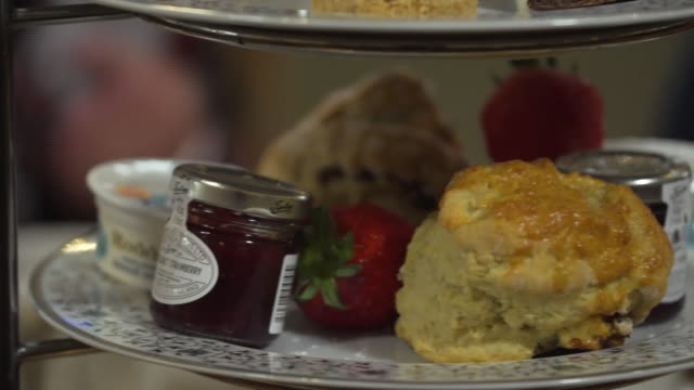 closeup of traditional british afternoon tea - afternoon tea stock videos & royalty-free footage