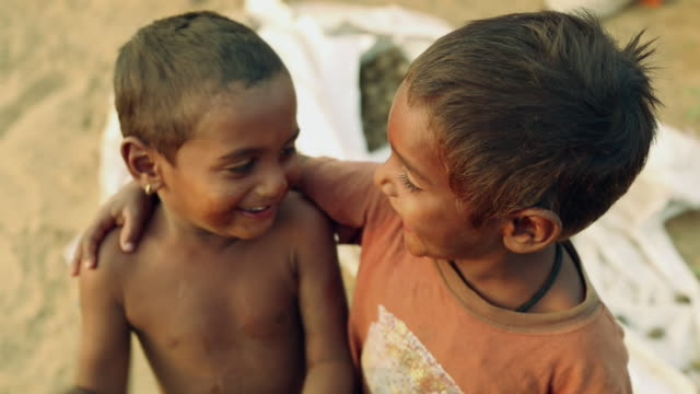 Close-up of two boys smiling, Rajasthan, India