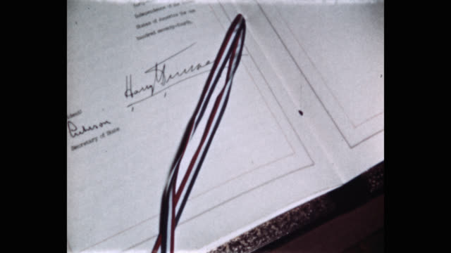 closeup of us president harry truman's signature on north atlantic treaty white house washington dc usa - 10 seconds or greater stock videos & royalty-free footage