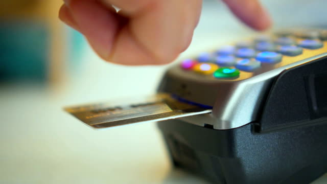 Close-up of using credit card reader,Slow Motion