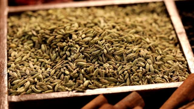 vidéos et rushes de close-up of variety of indian spices - graine