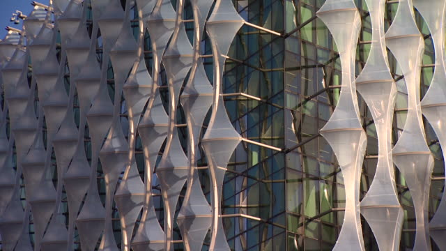 close-up of various parts of the new us embassy building in london - close up stock videos & royalty-free footage
