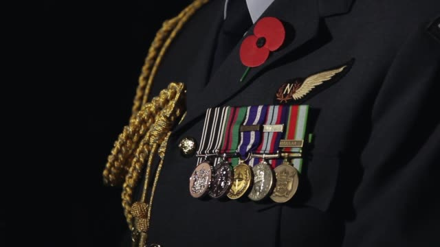close-up of war medals on soldier's uniform. close-up of war medals on soldier's uniform on april 25, 2013 in various cities, new zealand - anzac day stock videos & royalty-free footage