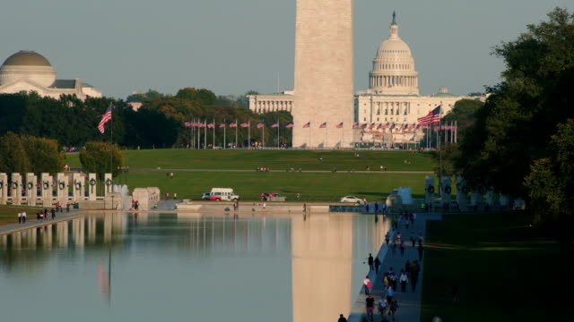 close-up of washington monument and lincoln memorial reflecting pool, washington d.c, usa - reflecting pool washington dc stock videos & royalty-free footage