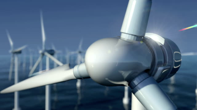close-up of wind turbines at sea #1 - wind turbine stock videos & royalty-free footage