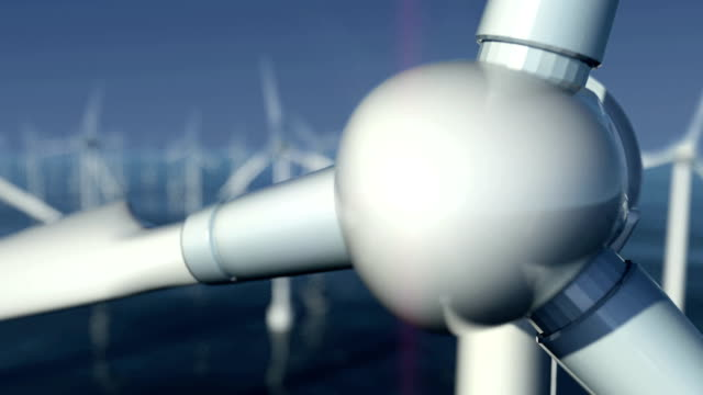 close-up of wind turbines at sea #2 - energy efficient stock videos & royalty-free footage