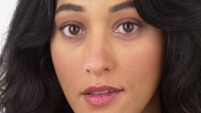 Closeup of woman looking at camera