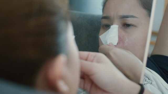 close-up of women making anti acne nose mask,three shot - nose stock videos & royalty-free footage