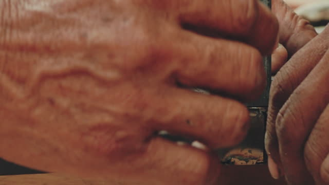close-up of worker's hands measuring on metal - steel worker stock videos & royalty-free footage