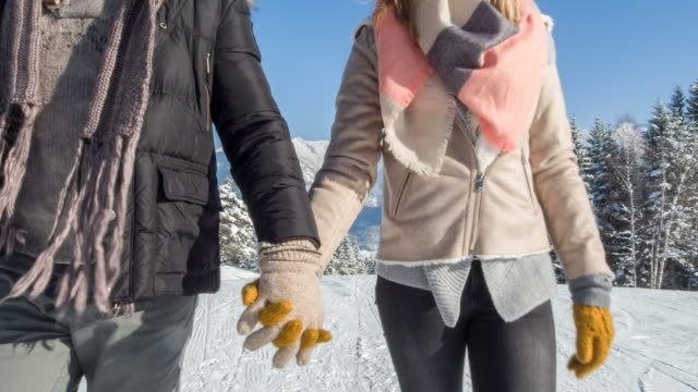 close-up of young couple holding hands in winter landscape, bavarian alps - bavarian alps点の映像素材/bロール
