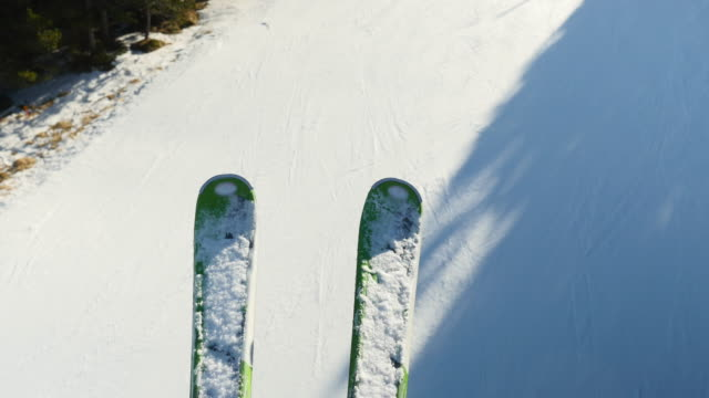 close-up on a pair of ski. - ski lift stock videos & royalty-free footage