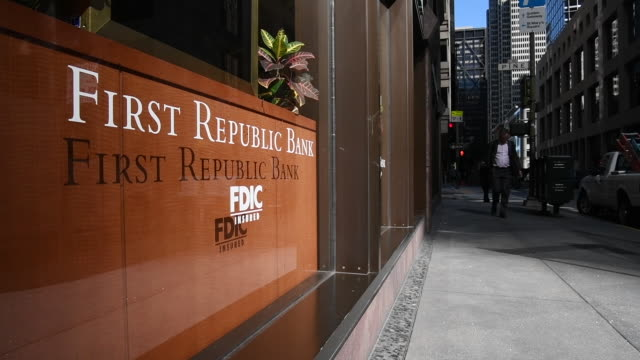 Closeup on First Republic Bank sign in San Francisco California on Friday March 31 2017