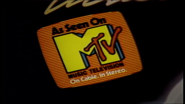 closeup on michael jackson's thriller album and mtv sticker - mtv点の映像素材/bロール