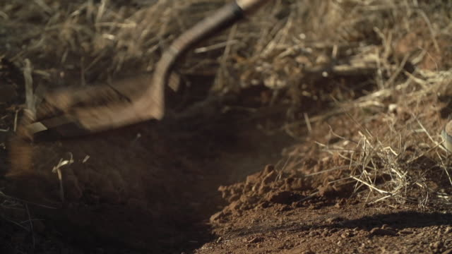 Closeup on shovel and axe-ho digging dirt, high speed