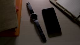 Close-up on smart phone,cell phone and smart watch with ringing